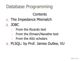 Database Programming - Villanova University