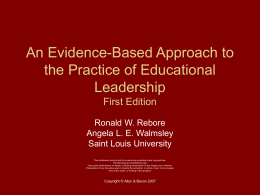 An Evidence-Based Approach to the Practice of