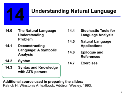 Ch. 14: Understanding Natural Language
