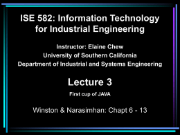 ISE 582: Information Technology for Industrial
