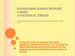 Standards Based Report Cards A National Trend -