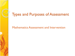 Types and Purposes of Assessment