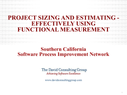 Project Sizing & Estimating