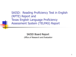 Progress of Students on the Reading Proficiency