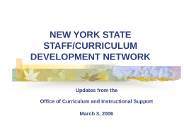 NEW YORK STATE STAFF/CURRICULUM DEVELOPMENT
