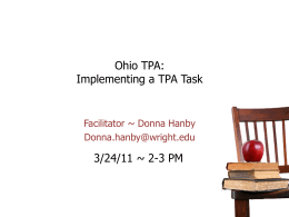 Ohio TPA: Implementing a TPA Task