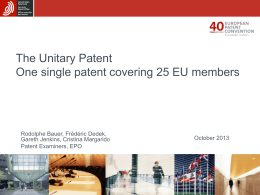 Unitary patent: status and prospects -