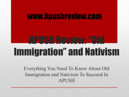 "APUSH Review: ""Old Immigration"" and Nativism"