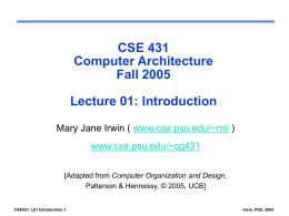CSE 431. Computer Architecture