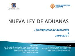 NUEVA LEY DE ADUANAS