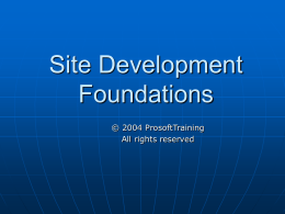 Site Development Foundations