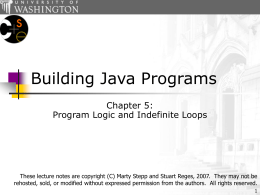 Building Java Programs, Chapter 5