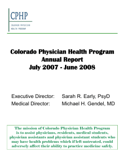 Colorado Board of Medical Examiners Annual Report
