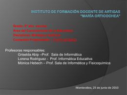 """INSTITUTO DE FORMACIÓN DOCENTE DE ARTIGAS """"María"""