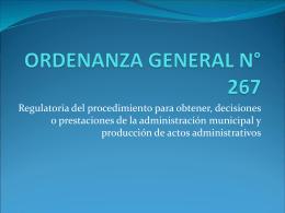 ORDENANZA GENERAL N° 267