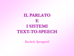 IL PARLATO E I SISTEMI TEXT-TO