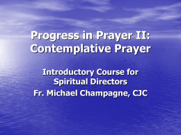 Lecture XVIII: Contemplative Prayer