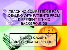 COMPETENCE FOR DEALING WITH PATIENTS WITH