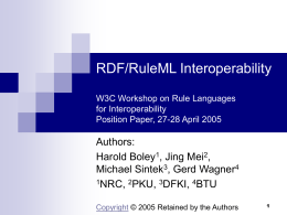 RDF/RuleML Interoperability W3C Workshop on Rule