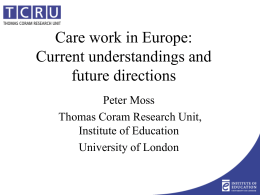 Care work in Europe: Current understandings and
