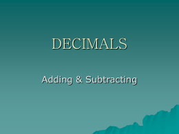DECIMALS - Galena Park Independent School District
