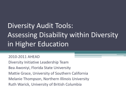 Diversity Audit Tools: Assessing Disability within