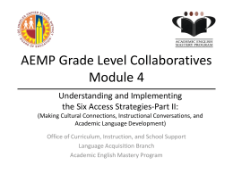 AEMP Grade Level Collaboratives Module 1