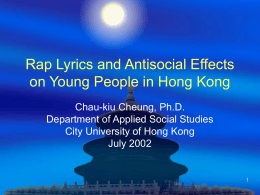 Rap Lyrics and Antisocial Effects on Young People