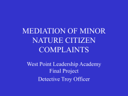 COMPLAINT MEDIATION - University of Texas at