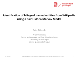 Identification of bilingual named entities from