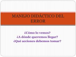 MANEJO DIDÁCTICO DEL ERROR