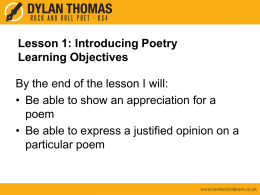 Analysing Poetry at GCSE