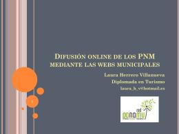 Difusión online de los PNM mediante las webs