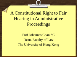 A Constitutional Right to Fair Hearing in