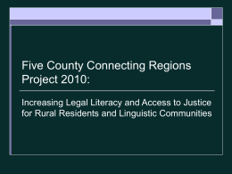 Law Foundation Rural and Linguistic Report: