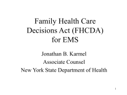 Family Health Care Decisions Act (FHCDA)