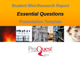 Essential Questions PPT - ProQuest