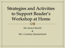 Reader's Workshop: Ways to support your child at