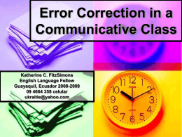 Error Correction in a Communicative Class -