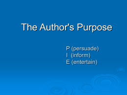 The Author`s Purpose