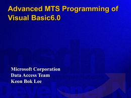 MTS Object model and services