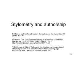 Stylometry and authorship