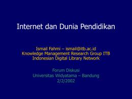 Internet dan Dunia Pendidikan Ismail Fahmi –