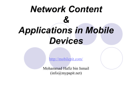 Network Content & Applications in Mobile Devices