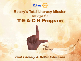 Rotary's Total Literacy Mission through the