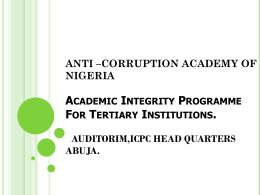 ANTI –CORRUPTION ACADEMY OF NIGERIA ACADEMIC