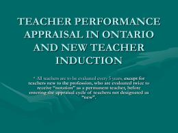 TEACHER PERFORMANCE APPRAISAL IN ONTARIO