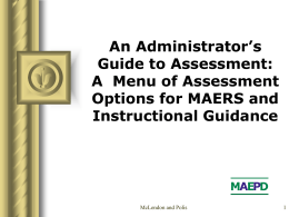 An Administrator's Guide to Assessment: A Menu of