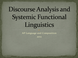 Critical Discourse Analysis and Systemic