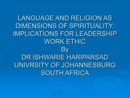LANGUAGE AND RELIGION AS DIMENSIONS OF